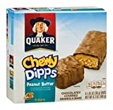 Quaker Chewy Dipps Peanut Butter Chocolatey Covered Granola Bars , 6.5 OZ (Pack of 12)