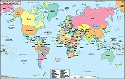 amazon com world map with countries in spanish laminated 36 w