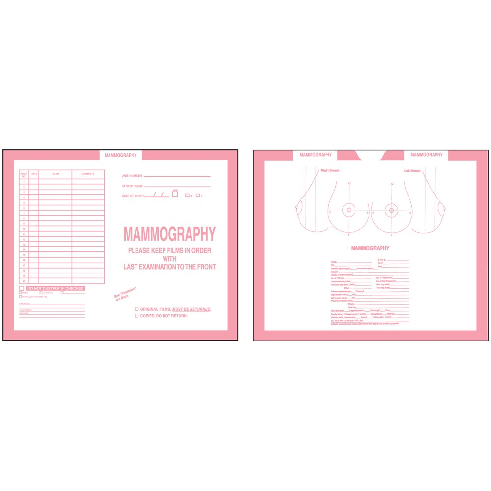 PDC Healthcare CJDT-MA2 Category Insert Jacket, Open Top Mammography, 28# Kraft, 10-1/2 x 12-1/2, Pink (Pack of 250)