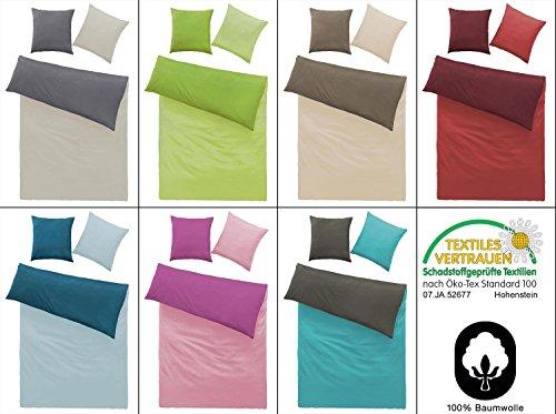 Renforcé Bettwäsche 2 od. 4 tlg. Garnitur 100% Baumwolle mit Reißverschluss und gratis Gesichtstuch- Farbe Grün / Maigrün, Grösse 4 tlg. 135x200cm