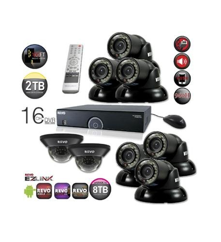 Home Monitoring Video Recording Surveillance System - Bundle of 8 Day Night Vision Security CCTV Cameras and 16 Channel 2TB DVR -  America - Revo Revo