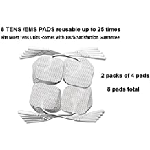 8 TENS Unit / EMS 2x2 Square TENS Electrode Pads Electrode Reusable up to 25 Times Gel Made in the USA 100% Satisfaction Guarantee