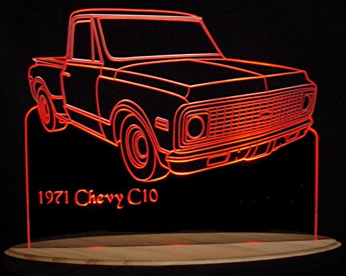 (1971 Chevy Pickup Truck C10 Short Box Stepside Acrylic Lighted Edge Lit 11-13