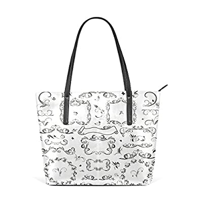 Womens Leather Top Handle Shoulder Handbag Floral Designs Large Work Tote Bag