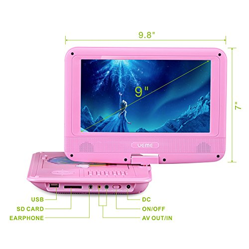 UEME 9'' Portable DVD Player with Car Headrest Mount Holder | Swivel Screen | Remote Control | Rechargeable Battery | SD Card Slot and USB Port, Personal DVD Player PD-0093 (Pink) by UEME (Image #3)