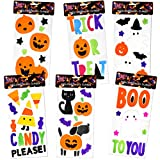 6 Halloween Window Gel Clings; Pumpkins, Bats, Ghosts, Witch, Black Cats, Haunted House & More..