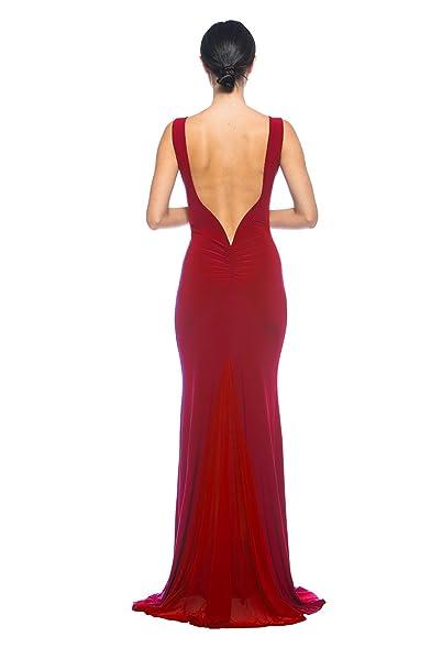 Amazon.com: Women\'s Red Low Back Sleeveless Old Hollywood Glamorous ...