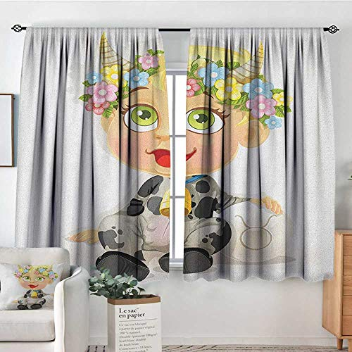 Decor Room Darkening Wide Curtains Zodiac Taurus,Happy Baby with Little Horns and Flowers Cow Bell and Costume Kids Cartoon, Multicolor,Insulating Room Darkening Blackout Drapes 63