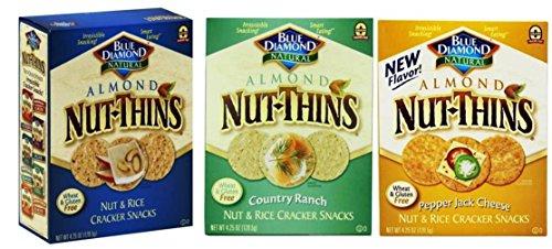 Thins Almond (Blue Diamond Wheat & Gluten Free Nut & Rice Crackers 3 Flavor Variety Bundle: (1) Blue Diamond Original Almond Nut-Thins Cracker Snacks, (1) Blue Diamond Country Ranch Almond Nut-Thins Cracker Snacks, and (1) Blue Diamond Pepper Jack Cheese Almond Nut-Thins Cracker Snacks, 4.25 Oz. Ea. (3 Boxes Total))
