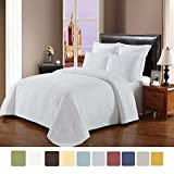 NC Home Fashions Cameo embroidered style solid color quilt set, Full/Queen, Bright White