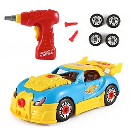 Mr.Fix.it Race Car Toy Take-A-Part Battery-Operated Drill Set with Lights and...