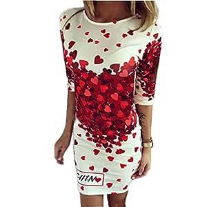 creazywomen corazón Lovely impresión Bodycon Partido Cóctel por la noche mini vestido
