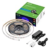 LE Smart LED Strip Lights, 5m Flexible RGB Tape Lighting Kit, Bluetooth Mesh Smartphone APP Remote Control, 5050 SMD 300LEDs Dimmable Color Changing Mood Light, Waterproof Ribbon Light for DIY Christmas Holiday Home Party Decoration