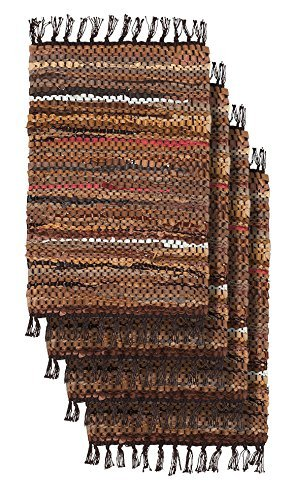 Home Furnishings by Larry Traverso Tucson Leather Placemats 13-Inches by 19-Inches Set of 4 Brown [並行輸入品]   B07DPMZXM2