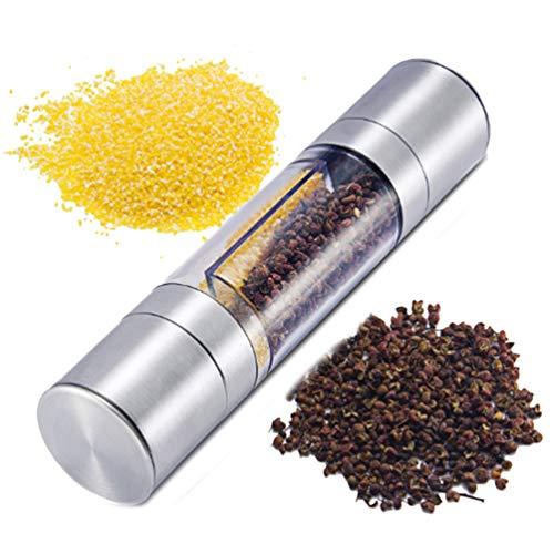 (Pepper Salt Grinder Manual 2 in 1 Dual Ended Design Stainless Steel Grinding Machine Salt Pepper Mill Shaker Set with Adjustable Coarseness)