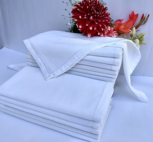 Set Of 12 White Cloth Dinner Napkins, Over-sized 20×20 Inch Hemstitched Napkins with Mitered corner finish Offered By Linen Clubs