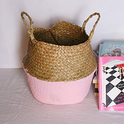 Yeefant Seagrass Wicker Flower Pot Folding Dirty Basket Woven Flowerpot Multi-use Arts and Crafts, Makeup, Stationary, Bath (Pot Of Gold Craft)