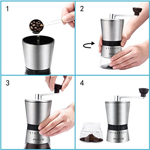 Manual Coffee Grinder, PHIVE Ceramic Conical Burr Mill, 15 Coarseness Settings for Precision Brewing, Brushed Stainless Steel, Glass Jar with Sticky Pad, Hand Crank Coffee Mill