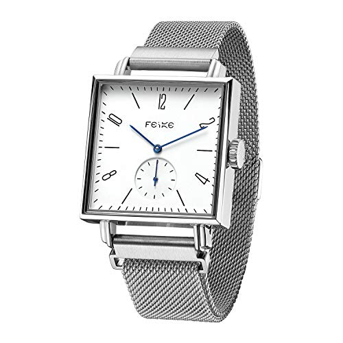 FEICE Bauhaus Watch Men's Automatic Watch Minimalist Square Wrist Watch Stainless Steel Leather Bands Sapphire Mirror Mechanical Watches for Women Unisex #FM301 (Silver)