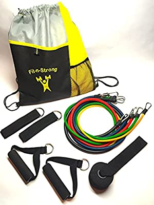 Resistance Bands Fitness Kit   5 high-quality stretch tubes w/ heavy duty metal carabiner clips, 2 soft grip foam handles, 2 ankle wrist straps, improved door anchor & premium drawstring bag. Home workout, gym, travel. Video training. Guaranteed.