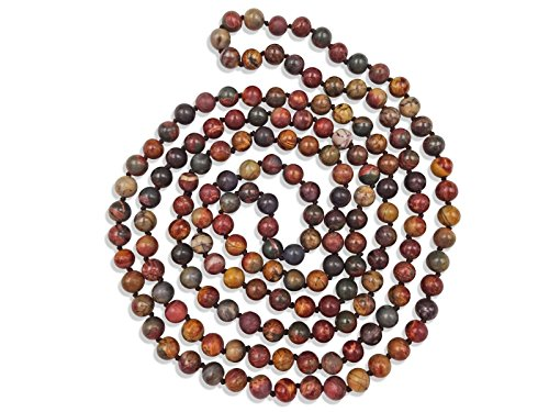 MGR MY GEMS ROCK! 60 Inch Polished Genuine Stone Multi-Layer Long Endless Infinity Beaded Necklace. (Picasso Jasper Stone) ()