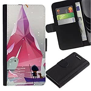 LASTONE PHONE CASE / Lujo Billetera de Cuero Caso del tirón Titular de la tarjeta Flip Carcasa Funda para Sony Xperia Z1 Compact D5503 / Minimalist Pastel White