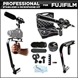 Vidpro XM-55 13-Piece Professional Video Broadcast Unidirectional Condenser Microphone Kit + Pro DSLR Camera Stabilizer For Fujifilm X-E2, X-E1, X-T1, HS50EXR S9200 S9800 S9900W X-A2 X30 Camera