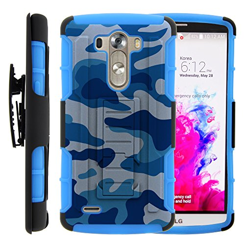 Lg G3 Case  Lg G3 Holster  High Impact Advanced Double Layered Hard Cover With Built In Kickstand And Belt Clip For Lg G3 D850  Vs985  D851  990  Sprint  T Mobile  Verizon  At T  From Miniturtle   Includes Screen Protector   Blue Camouflage