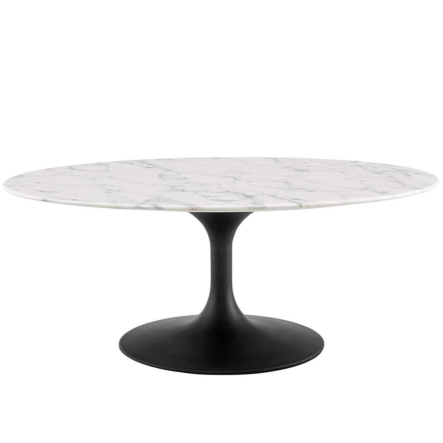 42 Oval Shape Coffee Table With Artificial Marble Top And Black