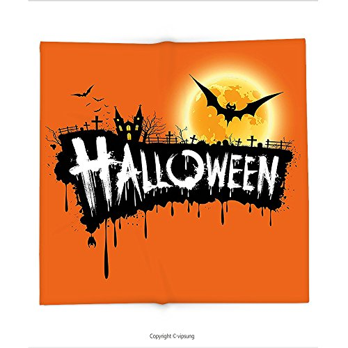Custom printed Throw Blanket with Halloween Decorations Collection Spooky Party Theme Flying Bats and Gloomy Full Moon Grunge Style Retro Decor Orange Black Super soft and Cozy Fleece Blanket