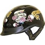 DOT VENTED LADY RIDER BLACK MOTORCYCLE HALF/BEANIE HELMET-M