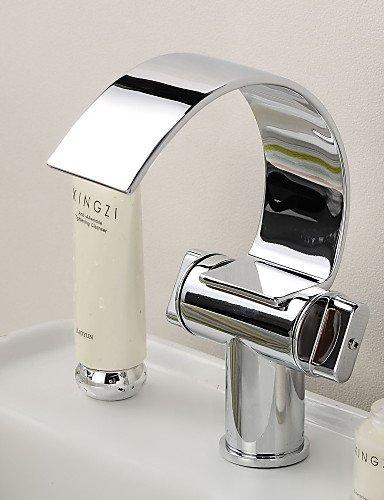 Waschbecken Wasserhahn mit Messing verchromt WasserfaÖl Kurve Auslauf modernen Design Waschbecken Wasserhahn