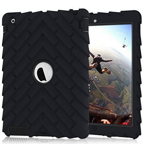 iPad 4 Case,iPad 2 Case,iPad 3 Case, Heavy Duty Shock-Absorption Three Layer Armor Defender Protective Case for iPad 2/iPad 3/iPad 4 (Black+Black)