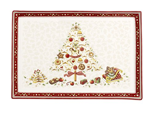 Winter Bakery Delight Cake Plate by Villeroy & Boch - Perfect for Christmas Gift or Entertaining - Premium Porcelain - Dishwasher and Microwave Safe - Gift Boxed – 15.3 x 10.4 Inches