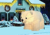 New 6.5 FT Long Inflatable Plush Polar Bear With Fabric cover Lights Christmas X'mas Decoration