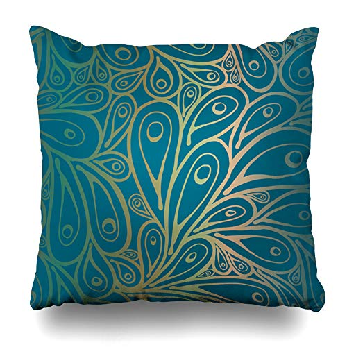 (Ahawoso Throw Pillow Cover East Green Indian Doodle Peacock Feathers Pattern Gradient Nature Blue Bird Paisley Eye Phoenix Decor Zippered Cushion Case 18