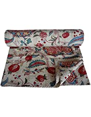 Stunning White Kantha Quilt Floral Print King Size Kantha Quilt Kantha Blanket Bed Cover King Kantha Bedspread Bedding Queen/Twin Size 90x108 inch