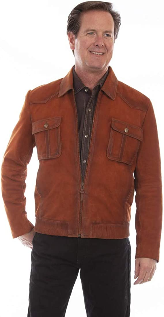 50s Men's Jackets | Greaser Jackets, Leather, Bomber, Gabardine Scully Western Jacket Mens Rugged Suede Zip Front Copper F0_1065 $396.00 AT vintagedancer.com