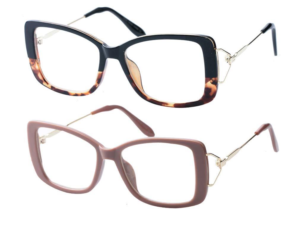 SOOLALA Ladies Lightweight Large Frame Eyeglass Fashion Reading Glass, LeoKhaki, 1.75
