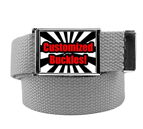 Custom Printed Men's Flip Top Bottle Opener Buckle with Canvas Web Belt Medium Gray -