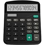 Desktop Calculator, LART Electronic Calculators with 12 Digit Large Display, Solar Battery LCD Display Office Calculator (Black)