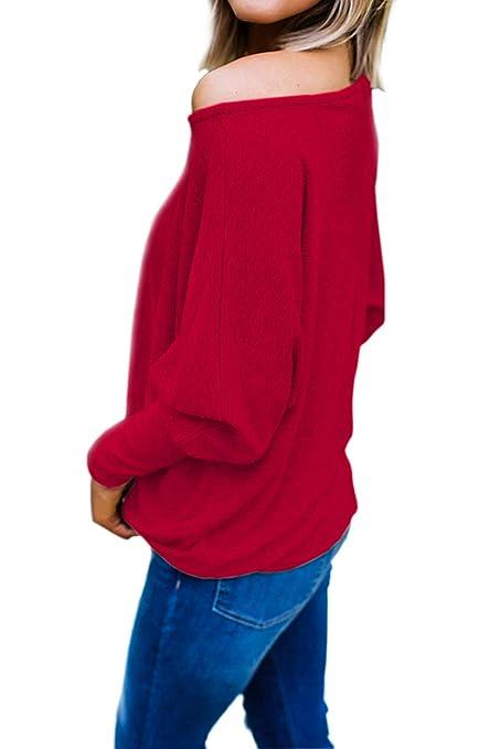 7f955c9eff6c3 Blouse Manche Chauve Souris Sexy Chemise Col Bateau Femme Haut Ample Sport  Tunique Automne Hiver Basique Simple Sweatshirt Top avec Noeud Devant Pull  ...