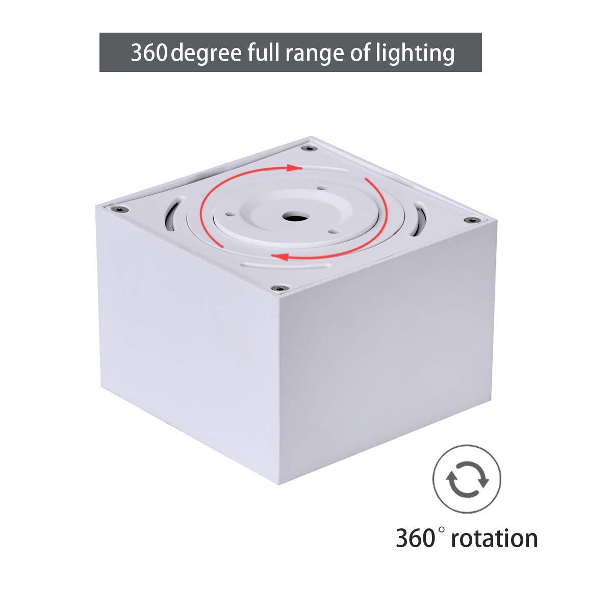 Focos de techo,L/ámpara de sal/ón,Luz de techo led,Plaf/ón con Focos Blanco-3000K Dr.lazy 10W LED Focos para el techo,L/ámpara de techo IP20 10X10x7CM