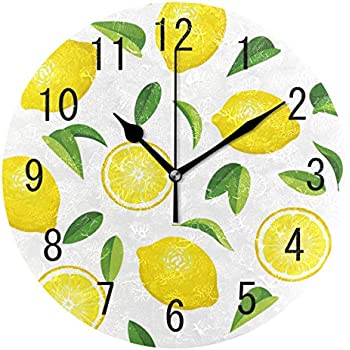 ALAZA Home Decor Summer Lemon Fruit Leaves 9 inch Round Acrylic Wall Clock Non Ticking Silent Clock Art for Living Room Kitchen Bedroom