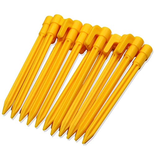 Erlvery DaMain 60Pcs Multifunctional Sturdy Yellow Plastic Stakes Anchors Rust-Proof for Holding Down Landscape Fabric Lawn Edging,Tents,Childrens Tent,Game Nets,Rain Tarps,Camping, Plants