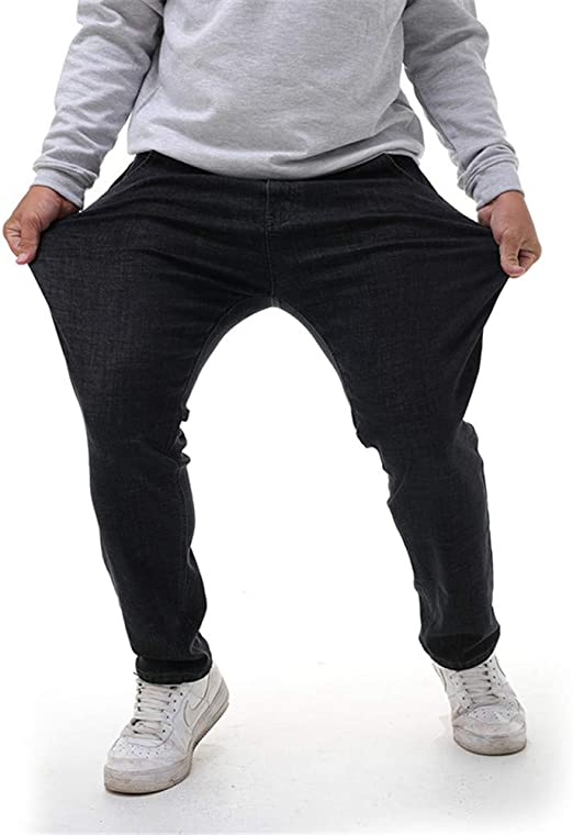 メンズプラスサイズは、脂肪ジーンズファッション秋冬メンズルーズジーンズ脂肪のパンツはパンツカジュアルパンツデニムジーンズ,黒,50