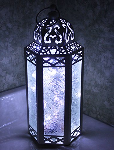 White Moroccan Style Lantern with LED Fairy Lights