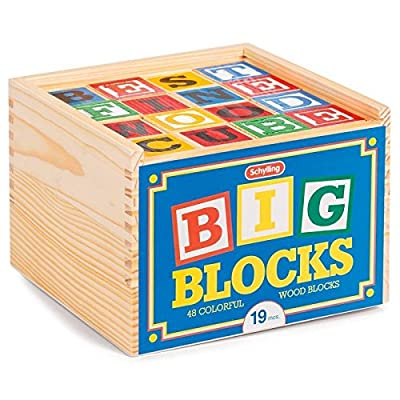 Schylling ABC Big Blocks - 48 Piece Wood Alphabet Blocks: Toys & Games
