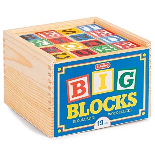 Wood Letter Cube - Schylling ABC Big Blocks - 48 Piece Wood Alphabet Blocks