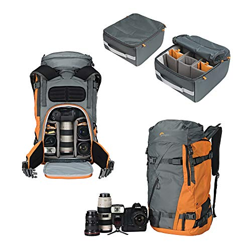 Lowepro Powder BP 500 AW Outdoor Backpack (Grey/Orange) for Walking, Hiking, Trekking and Winter Sports for Photo/Video Equipment and Personal Items (Fits DSLR/Mirrorless and Accessories) (Video Lowepro Dslr)